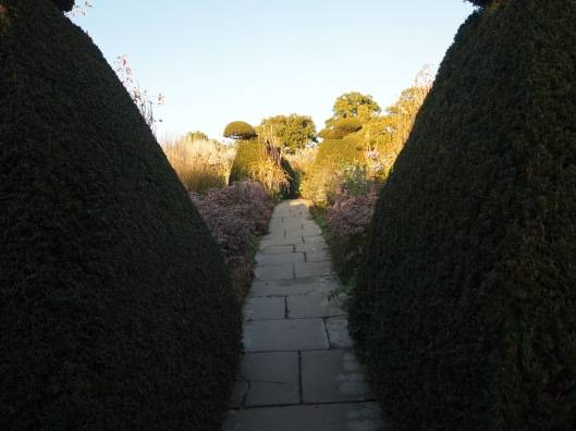 stone paths and yew walls